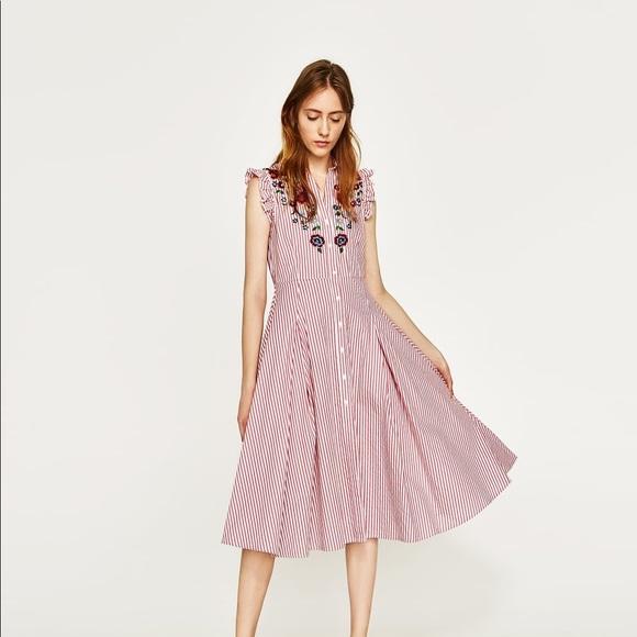 f6ddf14df7 NWT Zara Striped Floral Embroidered Shirt Dress